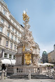 Statue of Archduke Karl in Kartner Strasse - Vienna. VIENNA, AUGUST 3: Holy Trinity Column and Graben Street in the Old Town of on august 3, 2015 in Vienna Stock Images