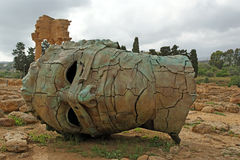 The statue in the archeological area of Agrigento Royalty Free Stock Photography