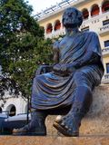 Statue of Aristotle, Thessaloniki, Greece. A large bronze statue commemorating Aristotle, the famous Greek philosopher and scientist, Thessaloniki, Greece royalty free stock photography