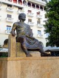 Statue of Aristotle, Thessaloniki, Greece. A large bronze statue commemorating Aristotle, the famous Greek philosopher and scientist, Thessaloniki, Greece stock images