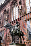 Statue of armed knight astride, Bremen, Germany. Statue of armed knight astride in front of the entrance to the town hall in Bremen, Germany Stock Photo