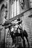 Statue of armed knight astride, Bremen, Germany. Statue of armed knight astride in front of the entrance to the town hall in Bremen, Germany. Picture shot in Stock Image