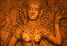 Statue asiatique en pierre de femme, Thaïlande. Photo stock