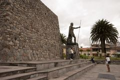 The statue of Atahualpa in Ibarra, Ecuador Stock Images