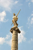 The statue is Athena, Ancient Greece` goddess. In the the blue sky background. Kuskovo, Moscow, Sheremetev`s manor stock image