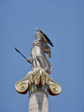 Statue of Athena the defender Academy, Athens Royalty Free Stock Photo