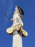 Statue of Athena in Greece. Statue of Athena, goddess of wisdom, defensive war, strategy, industry, justice and skill in ancient Greek mythology. Patron of Stock Photos