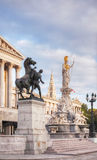 Statue of Athene in front of the Parliament building in Vienna Stock Photography