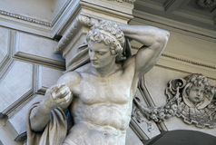Statue of Atlas on Andrassy street in Budapest Royalty Free Stock Photo