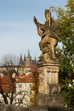 The statue of Augustine of Hippo on Charles bridge in Prague stock image