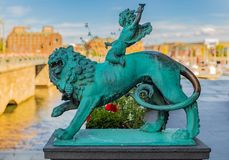 Statue of Bacchus riding a lion by the City Hall Stadshuset in K. 19th century statue of Bacchus riding a lion in front of the City Hall, Stadshuset, in Stock Images