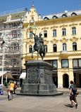 The statue of ban Josip Jelacic on a horse, at central square of Zagreb royalty free stock photos