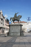 Statue of ban Josip Jelacic in Zagreb, Croatia Royalty Free Stock Photos