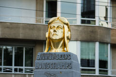 Statue of Baron Jean de Selys Longchamps in Avenue Louise, Brussels, Belgium. In the background is the building with the number 453 of Avenue Louise, former Royalty Free Stock Images