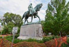 Statue barricadée du Général confédéré Robert E Lee à Charlottesville, la Virginie, Etats-Unis photo libre de droits