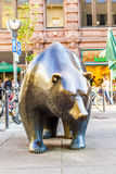Statue of the bear in front of the Frankfurt Stock Exchange Royalty Free Stock Photography