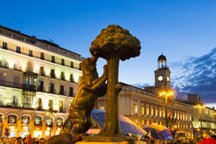 Statue of bear on Puerta del Sol, Madrid, Spain. Stock Photos