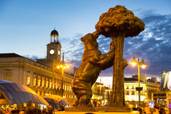 Statue of bear on Puerta del Sol, Madrid, Spain. Royalty Free Stock Photography