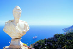 Statue and the beautiful Amalfi Coast Royalty Free Stock Photos