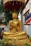 Statue bedeckt durch Regenschirm in Thailand stockbild