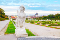 Statue at Belvedere palace in Vienna, Austria in the morning Stock Photos