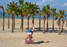 : Statue of Ben Gurion. TEL AVIV ISRAEL 05 11 16: Statue of Ben Gurion did a handstand at the beach in Tel Aviv. The statue was made by the German company Royalty Free Stock Images