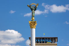 Statue of Berehynia on the top of Independence Monument in Kiev Royalty Free Stock Photo