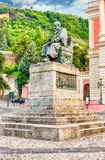 The statue of Bernardino Telesio, Old town of Cosenza, Italy. The iconic statue of Bernardino Telesio, Italian philosopher and natural scientist. Old town of stock image
