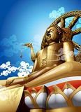 Statue of Big buddha on blue sky. Stock Photo