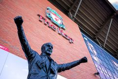 Statue of Bill Shankly in front of Anfield Stadium in Liverpool, UK