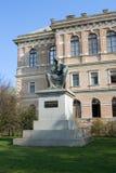 Statue of Bishop Josip Juraj Strossmayer. In Zagreb, Croatia stock photos