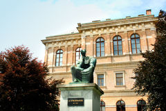 Statue of Bishop Strossmayer by Ivan Mestrovic, Located in Park. Behind Croatian Academy of Sciences and Arts, Zagreb, Croatia stock photography