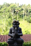 Statue. Black statue with Bali rice fields behind Stock Photography