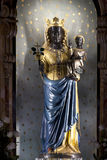 Statue of the black madonna. Of the sanctuary of Oropa Stock Photo