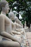 Statue blanche de Bouddha autour de mongkhon de yai Chai de wat Photographie stock