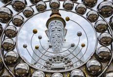 Statue blanche de Bouddha chez Wat Prathat Phasornkaew Thailand Photographie stock libre de droits