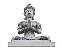 Statue blanche thaïlandaise d'angle image stock