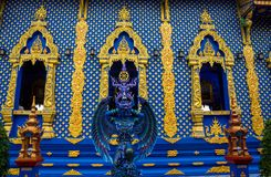 Statue of angel guard in Blue temple Chiang Rai, Thailand. Statue of blue angel guard portrait in Wat Rong Suea Ten Blue temple in Chiang Rai Thailand stock photography
