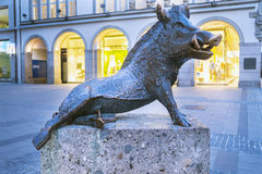 Statue of a boar at the door of the museum of hunting and fishin Stock Images