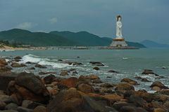 The statue of the bodhisattva Guan Yin. The Guan Yin of the South Sea of Sanya is a 108-metre (354 ft) statue of the bodhisattva Guan Yin, sited on the south Royalty Free Stock Photos