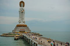 The statue of the bodhisattva Guan Yin. The Guan Yin of the South Sea of Sanya is a 108-metre (354 ft) statue of the bodhisattva Guan Yin, sited on the south Royalty Free Stock Images