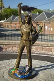 Statue of Bon Scott original singer for rock band acdc. Angus, Scotland. May 25th 2017. Statue memorial for the late singer of acdc Bon Scott in his birth town Royalty Free Stock Photos