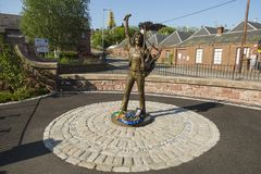 Statue of Bon Scott original singer for rock band acdc. Angus, Scotland. May 25th 2017. Statue memorial for the late singer of acdc Bon Scott in his birth town Royalty Free Stock Photography