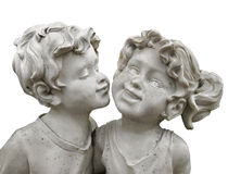 Statue boy kissing girl isolated. Stock Photography