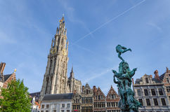 Statue of Brabo and the Cathedral of our Lady at Grand Place in Stock Photography