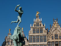 Statue of Brabo At The Market Square In Antwerpen Stock Photo