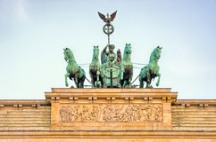 Statue on Brandenburg Gate, Berlin, Germany stock photography