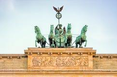 Statue on Brandenburg Gate, Berlin, Germany Stock Photography