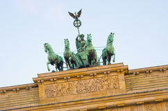 Statue on Brandenburg Gate, Berlin, Germany stock images