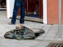 Statue in Bratislava. Statue of street worker in Bratislava, Slovak republic Stock Images